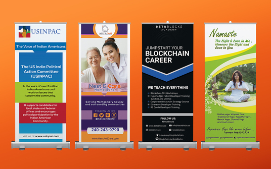 I will design a premium retractable roll up banner design or pull up banner