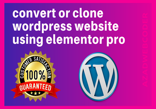 I will convert or clone web pages using elementor pro page builder into wordpress