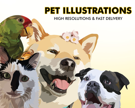 I will make your pet into an awesome illustration