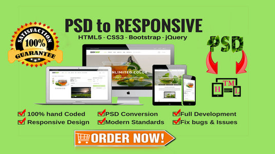 I will Convert your PSD  into HTML template