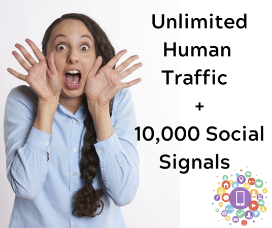 I will give you real human traffic + 10000 social signals for 30 Days