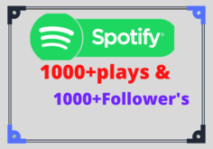 I will give you 1000+ Spotify plays with 1000+ Followers