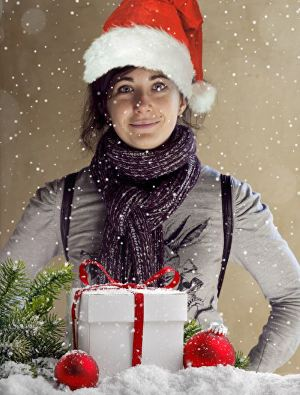 I will edit your picture with Christmas Gift, Snow and Christmas Hat