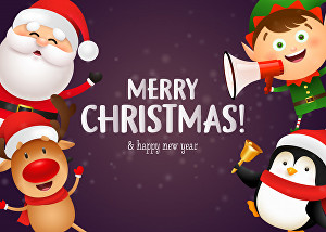 I will make a cute Christmas holiday card for you using these cartoons