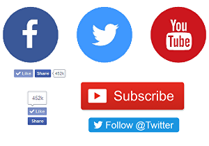 I will add Facebook Like button, Twitter Follow Button, YouTube Subscribe Button in your website