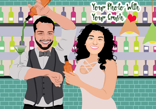 create a Digital Vector Couple Illustration for you with your loved ones
