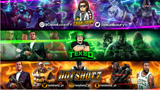 create Youtube,twitch,gaming banner and cartoon face