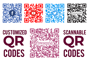 I will create 2 custom scannable print ready QR codes with your logo