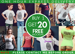 I will place your design on professional female t shirt mockup