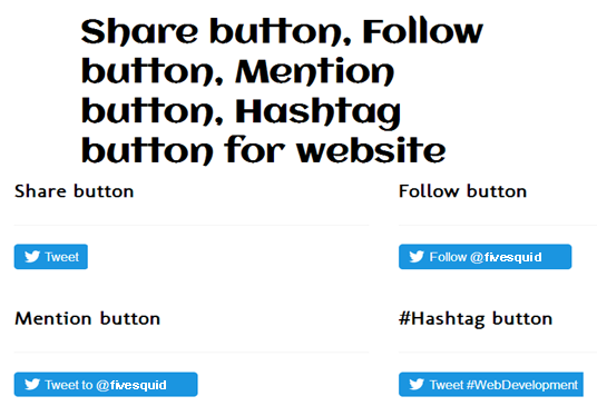 add Twitter Timeline, Share button, Follow button, Mention button, Hashtag button in Website