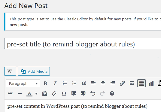 install pre-set title and content in WordPress post draft