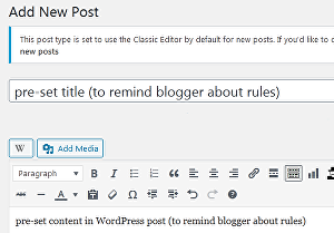 I will install pre-set title and content in WordPress post draft