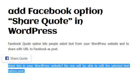 add Share Quote feature on Website allowing visitors to share quoted text directly on Facebook