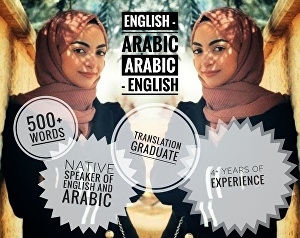 I will translate 500 words to and from English + Arabic