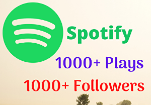 I will Provide 1000+ Spotify Plays and 1000+ Followers
