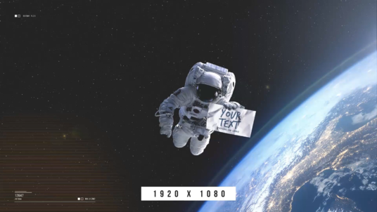 make astronaut hold your text, picture, or logo