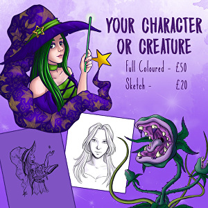 I will create a full coloured illustration of your character or creature
