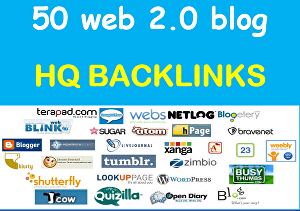I will Build 50 web 2.0 blog of Highest Quality & Most Effective Links