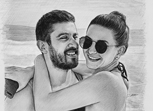 I will Draw Your Couples Pencil Realistic Portrait Sketch