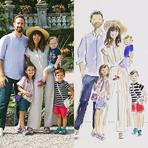 I will illustrate a cute custom family or couple portrait for you