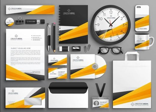 design logo, business card, letterhead, and stationery items