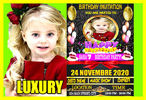 I will design a luxury birthday invitation cards  for kids