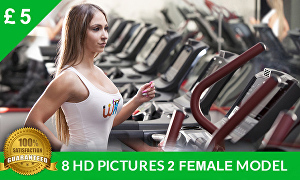 I will place your logo on 8 HD Female fitness models or female model shirts