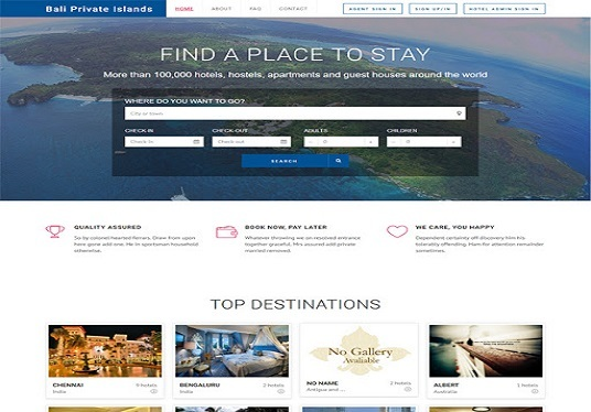 create hotel booking tour and travel website