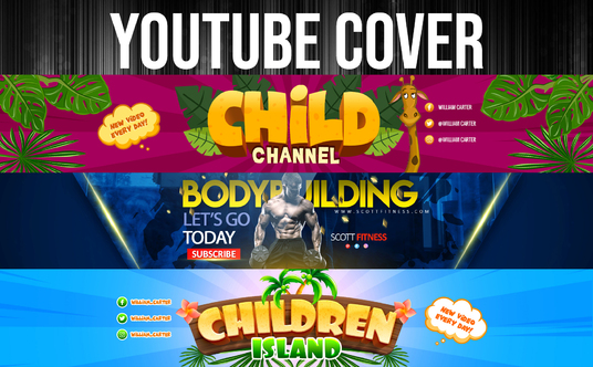design a professional, unique, and eye catching YouTube banner, cover just for you