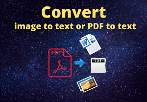 I will Convert image to text or PDF to text