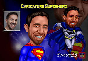 I will make a photo into awesome SUPERHERO caricature