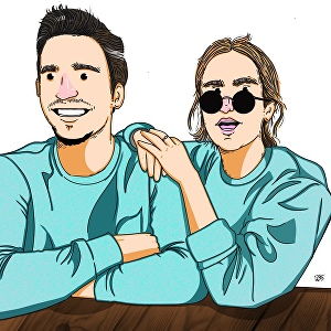 I will Draw cute couple illustration for you