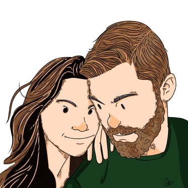 Draw cute couple illustration for you