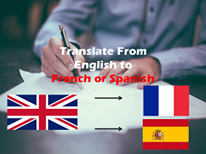 I will translate from English to French Or Spanish up to 500 words