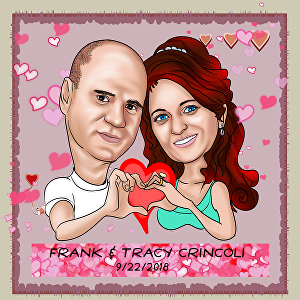 I will draw custom cartoon caricature portraits for couple and or pet