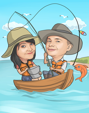 cccccc-draw custom cartoon caricature portraits for couple and or pet