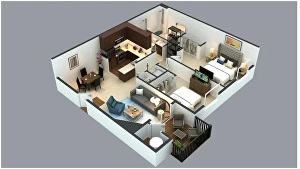 I will create realistic 3d floor plan, exterior, interior