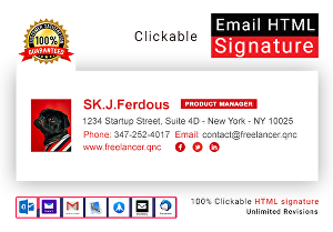 I will make a clickable HTML email signature for Outlook, Gmail, etc