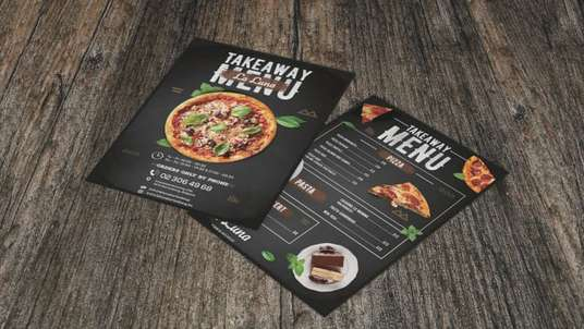 design a professional one sided menu