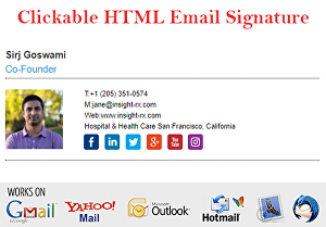 I will create professional clickable html email signature