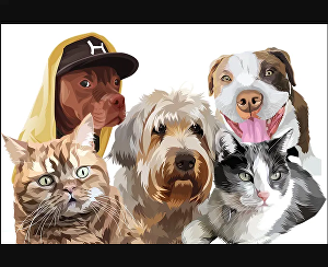 I will draw cartoon portrait of dog, cat or any animal pet