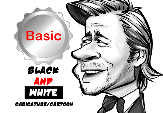 draw your photo or picture into caricature in Black and White style