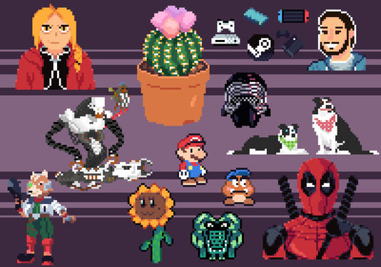 create a pixel art characters with animation frames