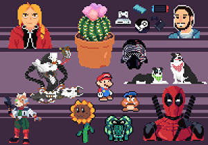 I will create a pixel art characters with animation frames
