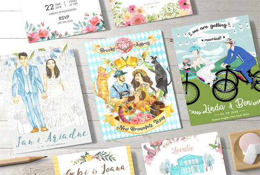make wedding invitation with bride and groom or couple illustration