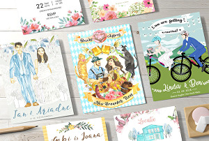 I will make wedding invitation with bride and groom or couple illustration