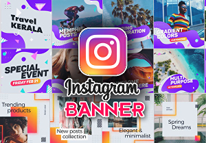 I will design 5 awesome Instagram banners