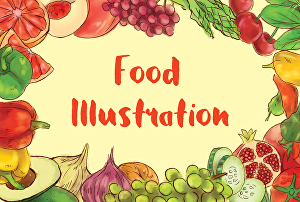 I will paint food illustration in watercolour style