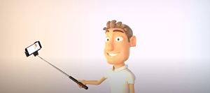 I will Make Selfie Stick Cartoon Video With Your logo