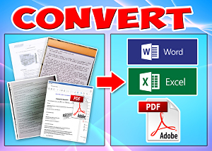 I will do typing and convert scanned, image doc, hard copy documents into doc, xls, txt or pdf